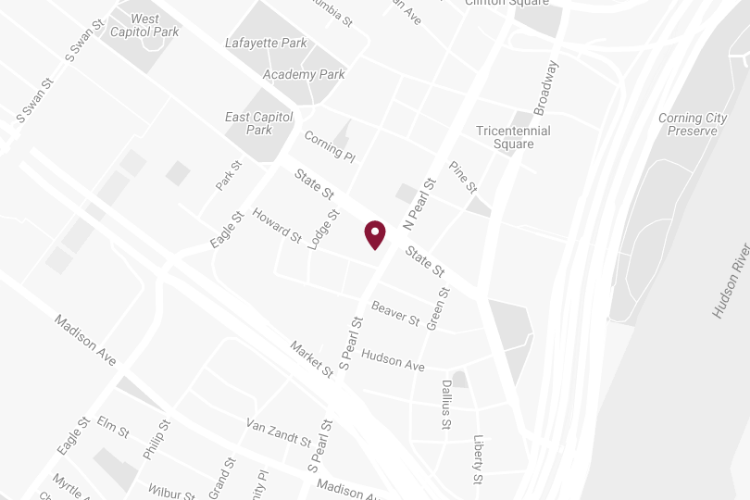 Custom Image of Google Map with pin at 90 State Street, Albany, NY 12207